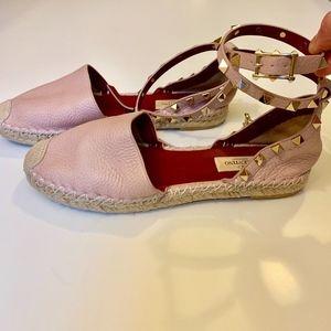 Valentino Pink Rockstud Double Grainy Espadrille